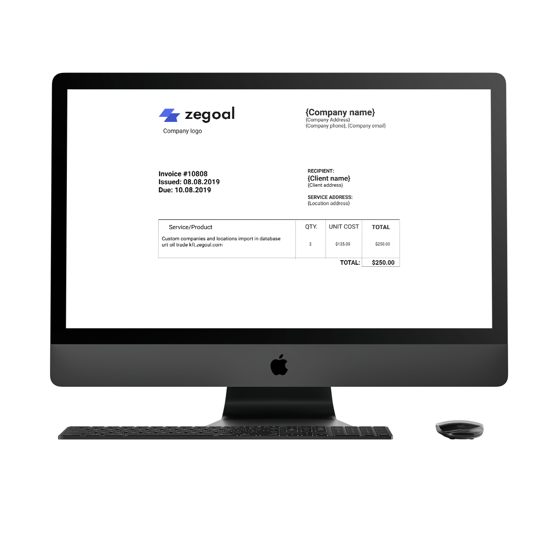 Quoting and invoicing Zegoal